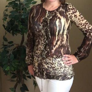 CAbi Animal Print Sheer Tunic Blouse Style 806